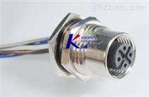 PCB板扁法兰插座,M12焊板式防水连接器