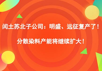 闰土苏北子公司:明盛、远征复产了!分散染料产能将继续扩大!